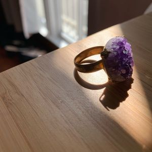 Urban Outfitters Druzy Amethyst Cocktail Ring